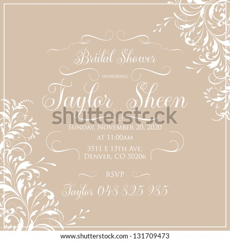 Bridal invitation card