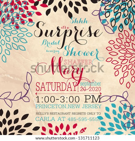 Bridal invitation card with abstract floral background.