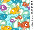 Bright and colorful  seamless pattern with cartoon colorful style fishes in the sea.  Seamless pattern can be used for wallpaper, pattern fills, web page background, surface textures. - stock photo