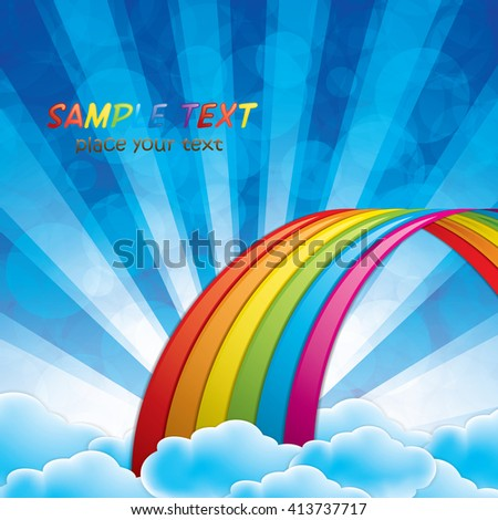 Bright arched rainbow with clouds realistic vector illustration