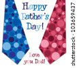 Bright bubble tie 'Happy Father's Day' neck tie card in vector format. - stock vector