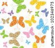 bright butterflies on white, seamless - stock vector