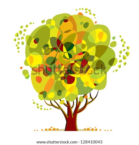 Bright color tree vector cartoon style illustration.