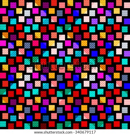 bright colored polygons on a black background seamless pattern
