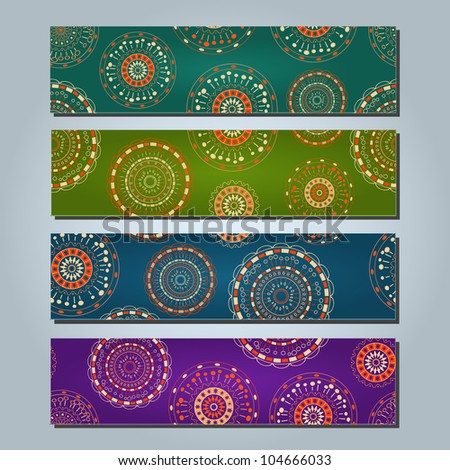 Bright Colorful Banners with Round Abstract Elements