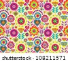 Bright colorful funny vector seamless pattern with flowers - stock vector