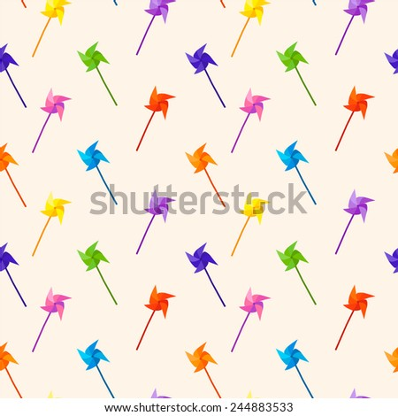 Bright colorful pinwheel pattern. Seamless vector background