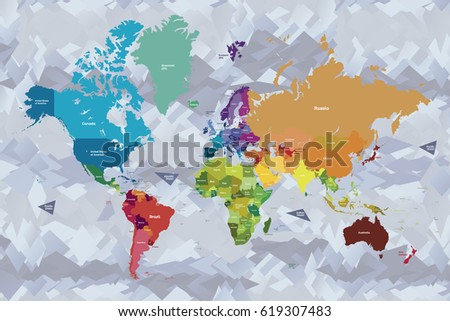 America Centered World Map All World Stock Vector 589946372