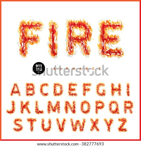 Bright fiery font depicting flame pattern. Universal design, suitable both for holidays, celebratory decorations, posters, banners, parties, festivals and for the warnings, alarms. Vector Illuctration