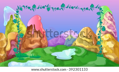 Bright kids game background with fantasy sweet mountains.