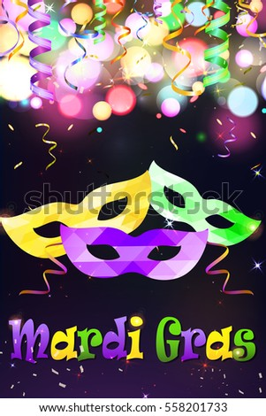 Bright Mardi Gras carnival mask vector poster background