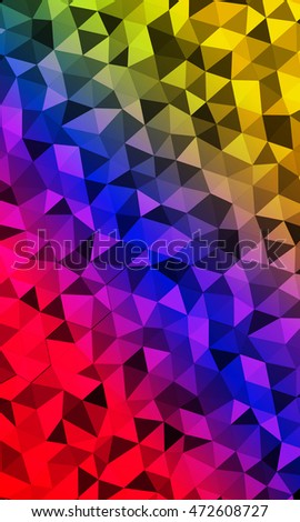 Bright multicolor geometric background of colored triangles. Gradient of red, purple blue, green, yellow color. Origami. Vector illustration. Polygonal patterns for your presentations, business