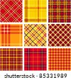 Bright plaid patterns set - stock vector