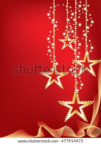 Bright red graded Christmas background with golden bright stars