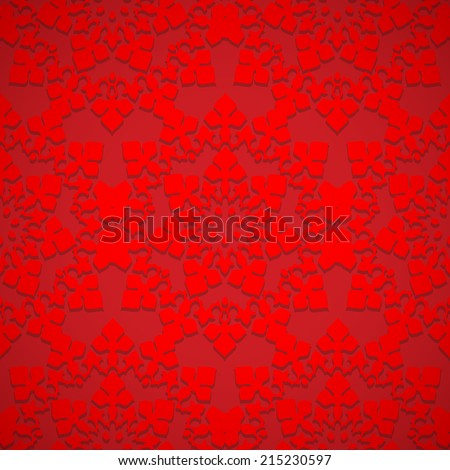 Bright red seamless embossed pattern of gothic rosette or oriental ornament