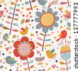 Bright romantic seamless pattern with cute birds and flowers. Seamless pattern can be used for wallpapers, pattern fills, web page backgrounds, surface textures. Gorgeous seamless floral background - stock