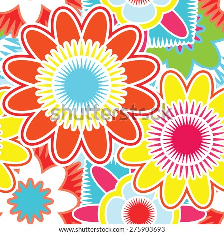 Bright seamless pattern with abstract flowers