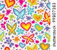 bright seamless pattern with butterflies and hearts - stock photo