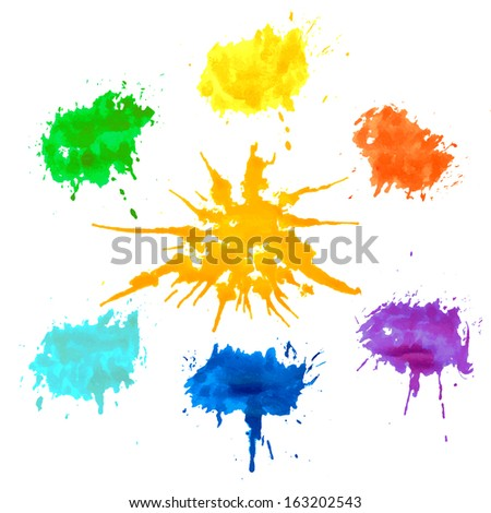 Bright splashes on a white background. Abstract Colorful Splashes. Set color blobs stains, Isolated on white background