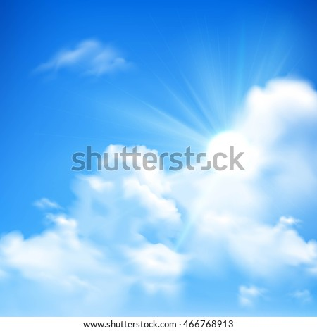 Bright sunbeams coming out of heap clouds in blue sky background cartoon vector illustration