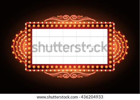 Brightly vintage glowing retro cinema neon sign