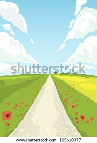 British countryside poppy field and track