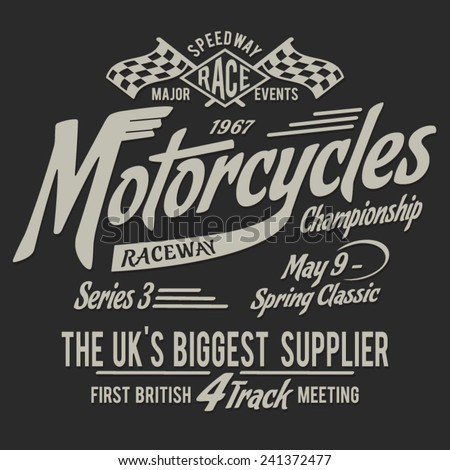 British vintage  motorcycle typography, t-shirt graphics, vectors