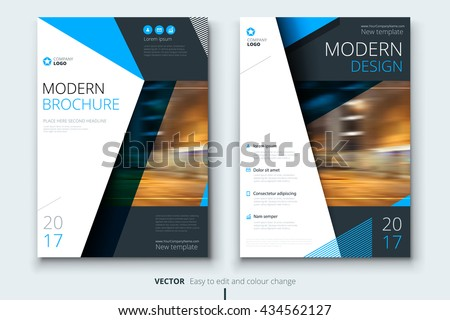 Blue corporate business annual report cover stock vector for Nice brochure templates