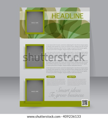 Brochure Design Template Vector Green Abstract Stock Vector