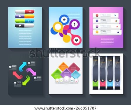 Brochure Set Business Infographics Vector Background Numbered Options Banner & Cards Design Collection