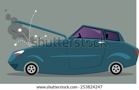Broken cartoon car with open hood, sparkles flying from a smoking engine, vector illustration