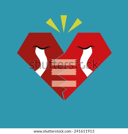 Broken Heart Calling for Help, Cartoon Vector Illustration. A broken red heart crying