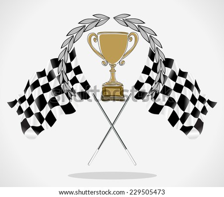 Bronze Trophy and Flag, vector