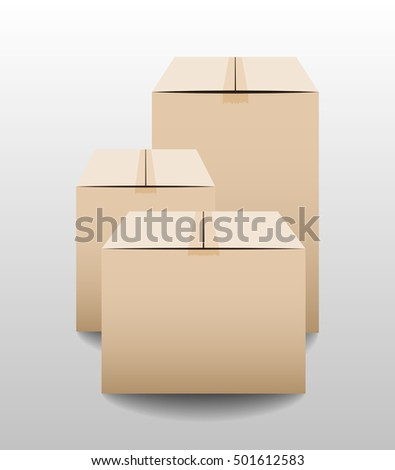 Brown closed carton delivery packaging boxes isolated on grey background. Vector illustration