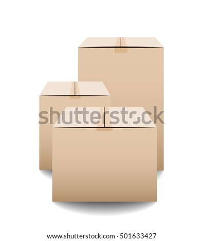 Brown closed carton delivery packaging boxes isolated on white background. Vector illustration
