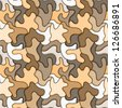 Brown puzzle seamless pattern. - stock vector