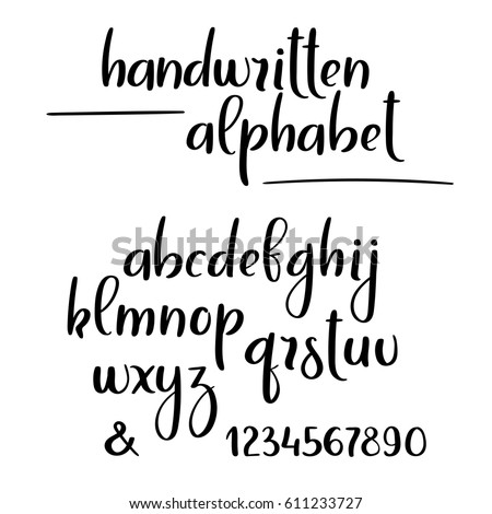 Vector Handwritten Brush Alphabet Isolated On Stock Vector