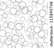 Bubbles black and white seamless pattern (vector version) - stock vector