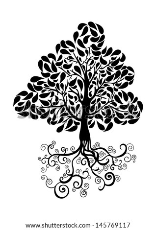 Bug Tree Icon Curly Roots Leaves Stock Illustration 146251253 ...