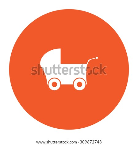 Buggy. Flat white symbol in the orange circle. Vector illustration icon