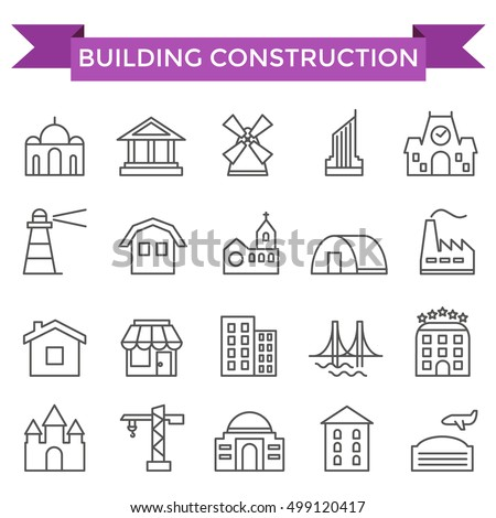Building construction icons, thin line flat design