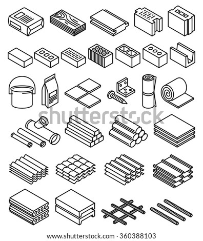 Building construction materials vector