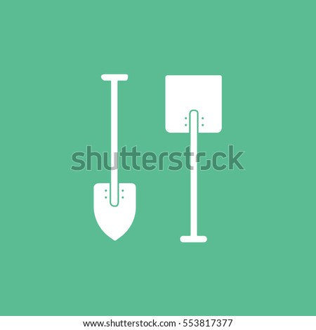 Building Construction Tool Shovel Flat Icon On Green Background