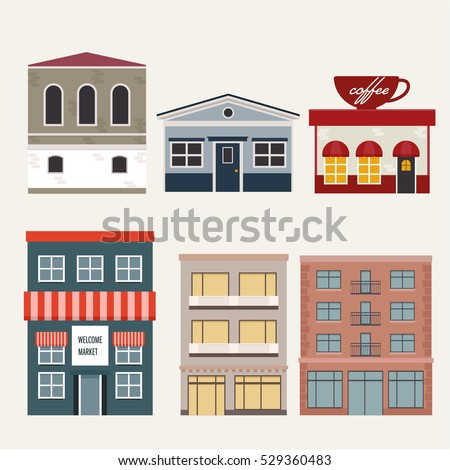 Cool set detailed flat design city stock vector 427901182 for Apartment design vector