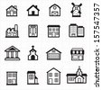 Building, house icons - stock
