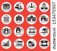 building  icon set. A vector illustration - stock vector