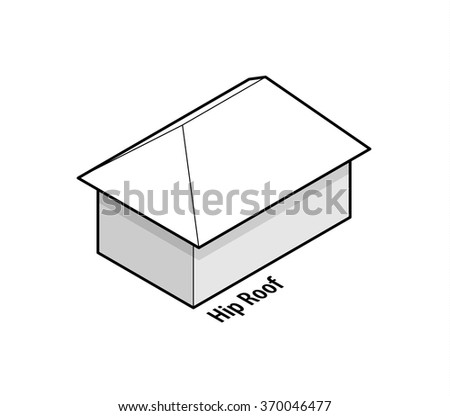Building roof type saltbox roof stock vector 370046426 for Box gable roof