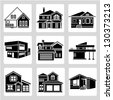 building set, architecture, real estate building icons - stock photo
