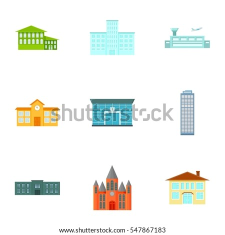 Building set icons in cartoon style. Big collection of building vector symbol stock illustration