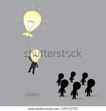 bulb businessman flying away with thebulb balloon innovation an idea of business concept
